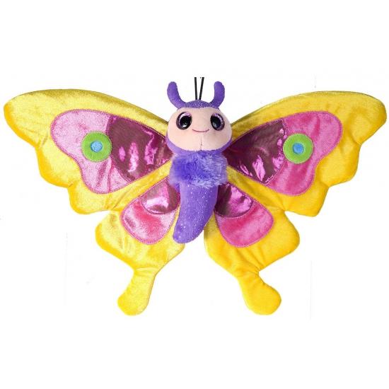 Speelgoed knuffel gele vlinder 38 cm