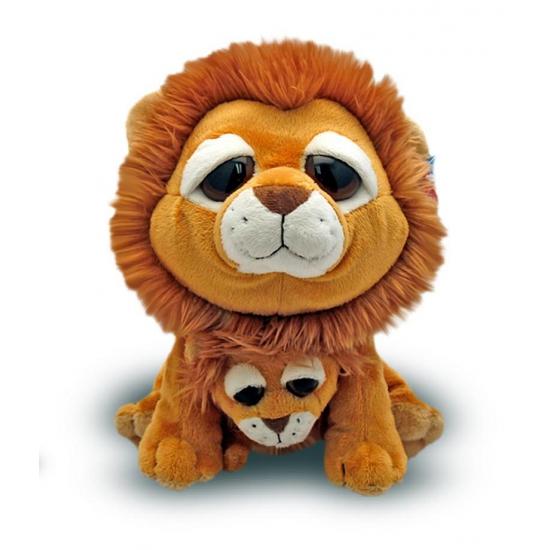 Speelgoed knuffel leeuw met baby 25 cm