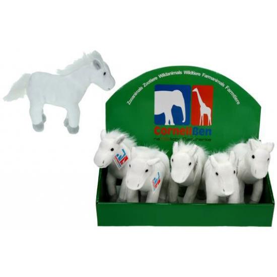Speelgoed knuffel paard wit 19 cm