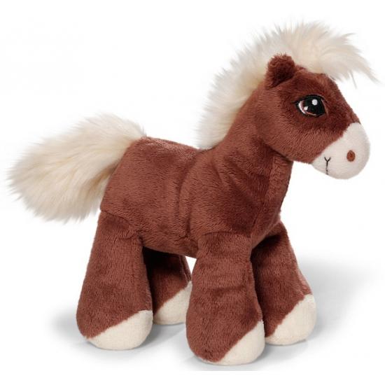 Speelgoed knuffel paardje bruin 15 cm