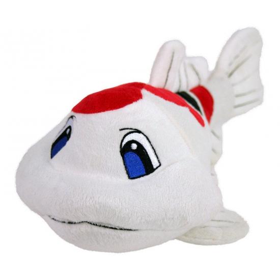 Speelgoed pluche Koi karper wit/rood 41 cm