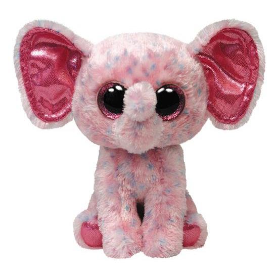 Ty Beanie kado knuffel olifant roze 24 cm