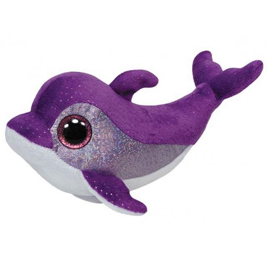 Ty Beanie knuffel dolfijn paars 15 cm