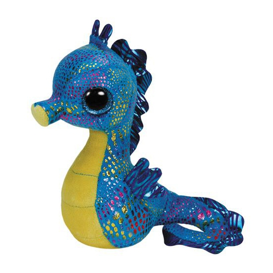 Ty Beanie knuffel zeepaardje blauw 15 cm