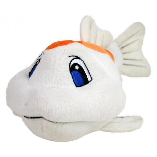 Vissen knuffel koi karper wit/oranje 41 cm