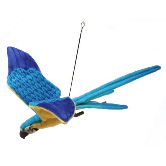 Vliegende knuffel papegaai blauw met geel