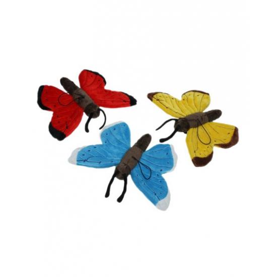 Vlinder knuffel blauw 21 cm