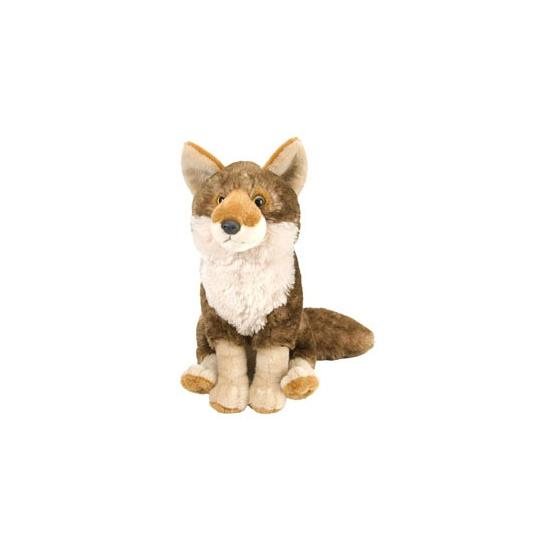 Wit met bruine knuffel coyote 30 cm