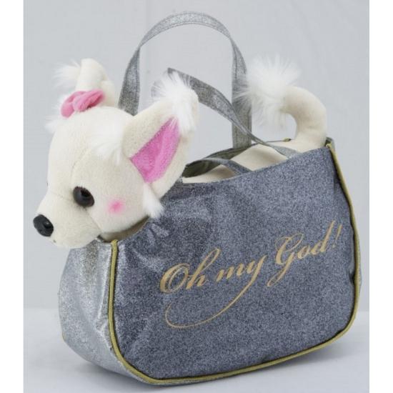 Witte Chihuahua knuffel met handtas 23 cm