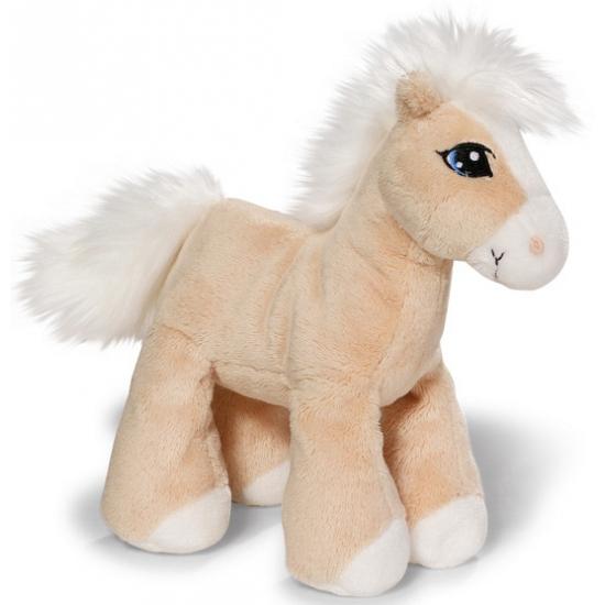 Zachte beige paarden knuffel 15 cm