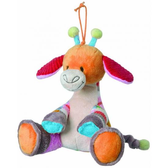 Zachte knuffel giraffe met muziek 18 cm