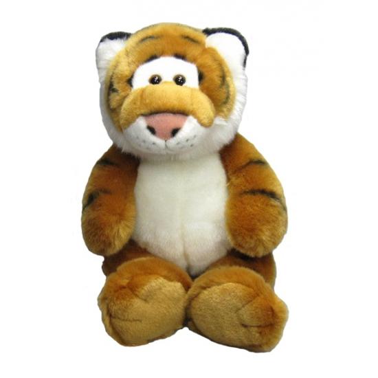 Zittende knuffel tijger met kraaloogjes 33 cm