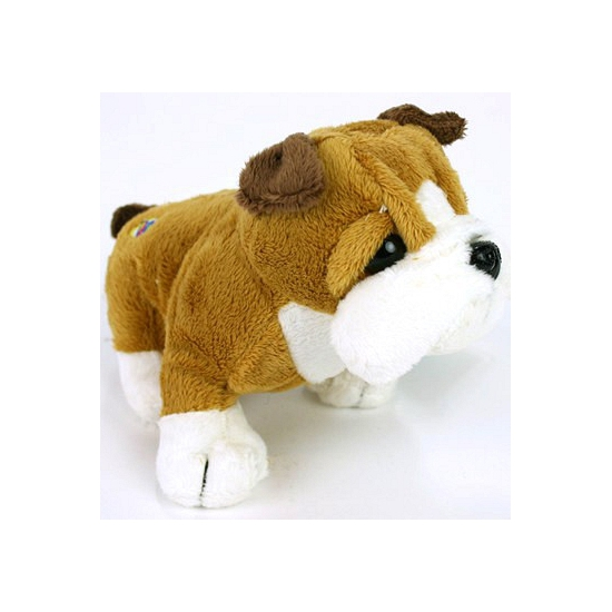 Zittende pluche bulldog knuffel klein 15 cm