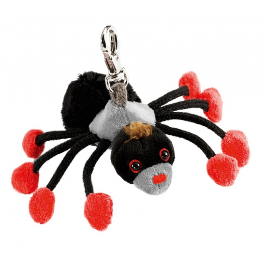 Zwart spinnetje sleutelhanger 10 cm