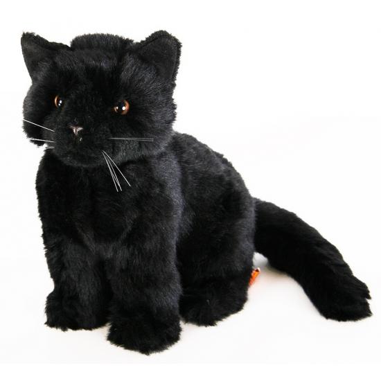 Zwarte kat knuffel liggend 20 cm zwart