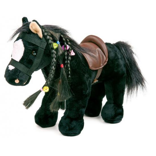 Zwarte pluche pony met geluid