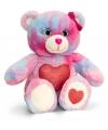 Gekleurde zittende beer met rood hart 25cm