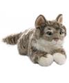 Grijze liggende pluche kat 35 cm