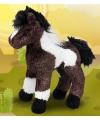 Knuffel paard gevlekt bruin wit 23 cm