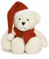 Knuffelbeer met kerstmuts 20 cm