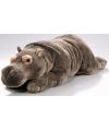 Liggende pluche knuffel nijlpaard 42 cm
