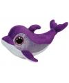 Paarse ty beanie dolfijn knuffel 15 cm