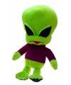 Pluche alien knuffel met paarse trui 40 cm