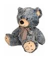 Pluche beer knuffel grijs zwart 32 cm