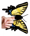 Pluche geel zwarte vlinder vingerpop 22 cm