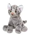 Pluche grijze poes kat knuffel zittend 12 cm