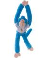 Pluche hangaapje knuffel blauw 40 cm