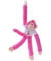 Pluche hangaapje knuffel roze 40 cm