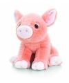Pluche huidskleurig varken knuffeldier zittend 25cm