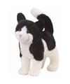 Pluche kat poes knuffel zwart wit 30 cm