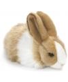 Pluche knuffel konijn bruin wit 18 cm