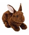 Pluche knuffel konijn haas donkerbruin 35 cm