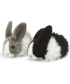 Pluche knuffel konijn zwart wit 18 cm