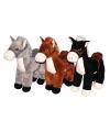 Pluche knuffel paard zwart 33 cm