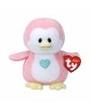 Pluche knuffel roze pinguin ty beanie baby penny 17 cm