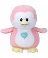 Pluche knuffel roze pinguin ty beanie baby penny 24 cm