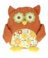 Pluche knuffel uil oranje 28 cm