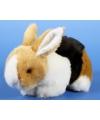 Pluche konijn bruin zwart wit 20 cm