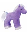 Pluche paard paars met glitters 18 cm