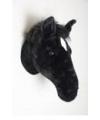 Pluche paarden hoofd zwart