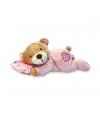 Pluche roze beer met kussen 15 cm