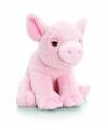 Pluche roze varken knuffel zittend met geluid 16cm