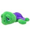 Pluche schildpad knuffel groen paars 24 cm