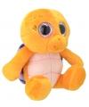 Pluche schildpad knuffel oranje paars 18 cm