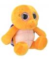 Pluche schildpad knuffel oranje paars 30 cm
