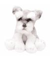 Pluche schnauzer wit grijs knuffel hond 13 cm